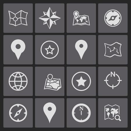 navigation buttons: map navigation geo lockation icon set
