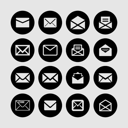 mail: mail letter post icon set
