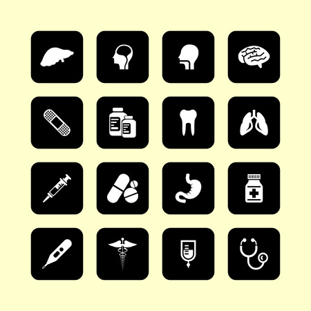 a substance vial: medical health care science icon set