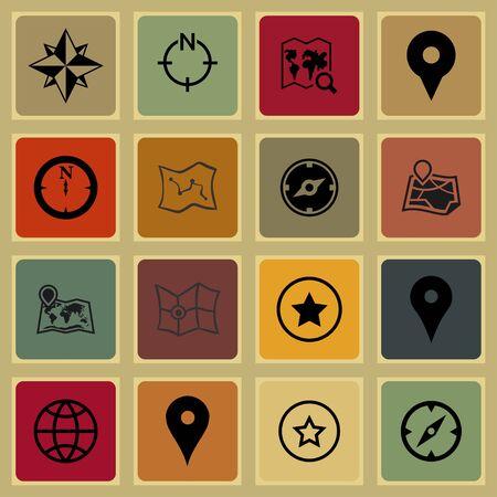 geo: map navigation geo lock station icon set