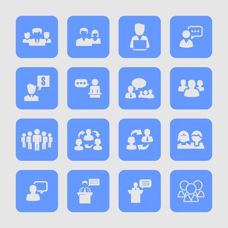 tribune: presentation training meeting conversation icon set