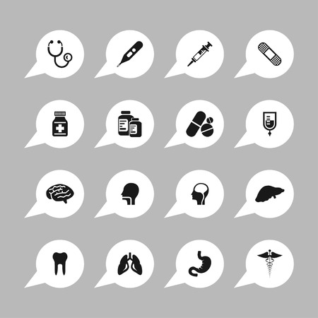 medicine: medicine pharmacy health aid icon set Illustration