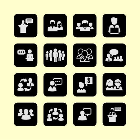 presentación reunión de capacitación icono conversación conjunto