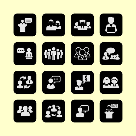 conference room meeting: presentation training meeting conversation icon set