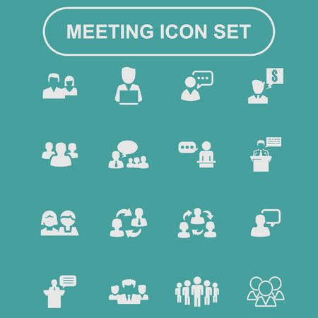 sales team: presentation training meeting conversation icon set