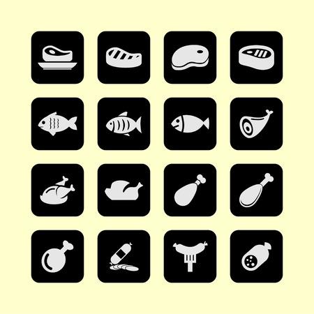 carne de pollo: carne de pescado icono conjunto Vectores