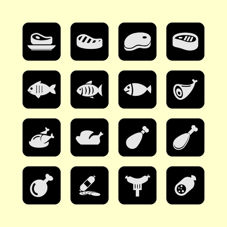 white meat: meat fish icon set
