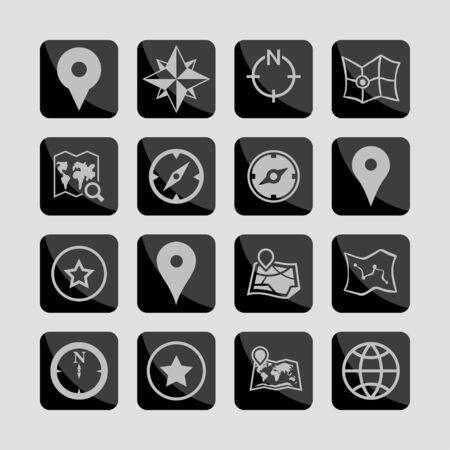 geo: map navigation geo lockation icon set