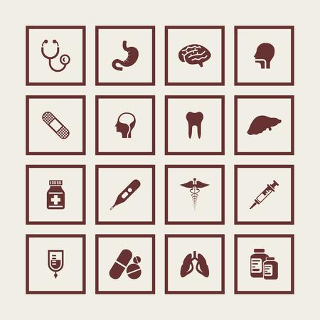 a substance vial: medicine pharmacy health aid icon set Illustration