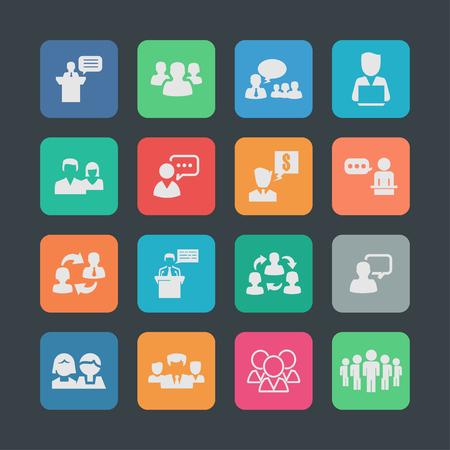 conversation icon: presentation training meeting conversation icon set