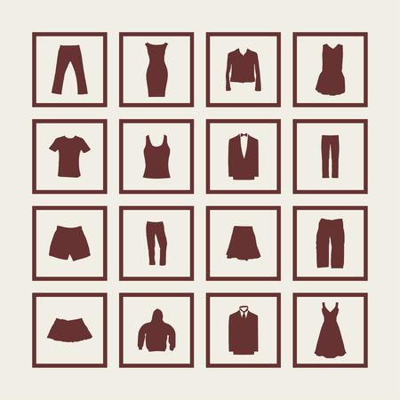 women smoking: clothes wear market icon set Illustration