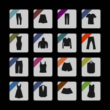 t shirt blouse: clothes wear market icon set Illustration