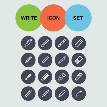 pen edit write icon set Vector
