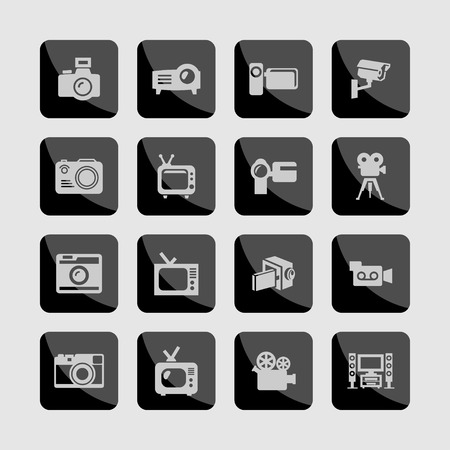 remote view: movie shoot television video icon set Illustration