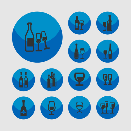 glass bottle: wine bottle glass restaurant icon set Illustration
