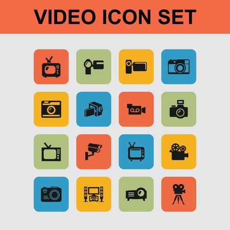 movie shoot television video icon set Illustration
