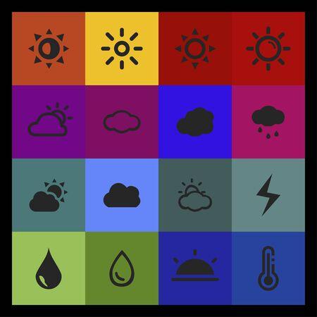 weather meteorology forecast icon set Illustration