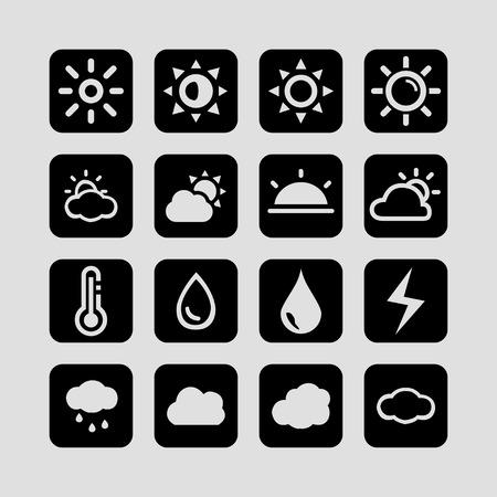 forecast: weather meteorology forecast icon set Illustration