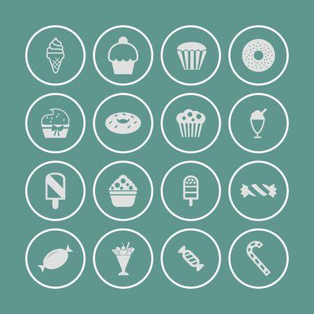 postre: pastel dulce postre icono conjunto