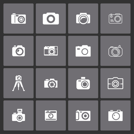 auto focus: photography camera shoot icon set