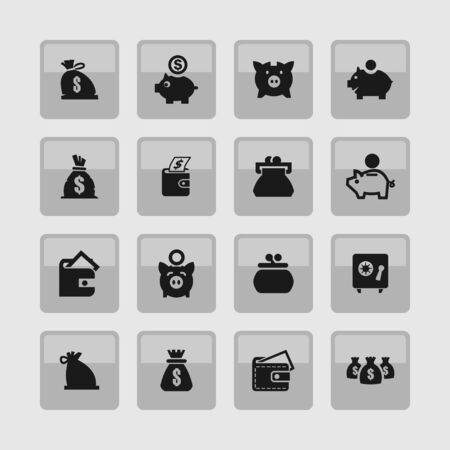 billfold: economy money finance icon set