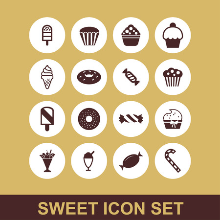 sweet cake dessert icon set