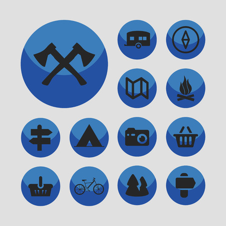 travel adventure camp icon set Иллюстрация