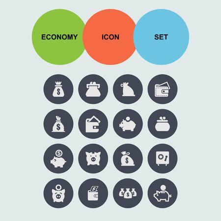 billfold: economy money finance icon set