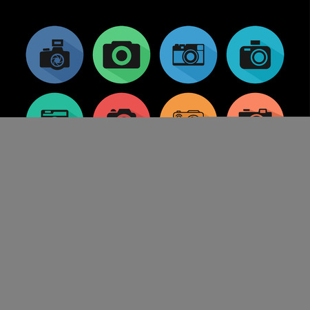partial: photography C�mara icono lanzamiento conjunto Vectores