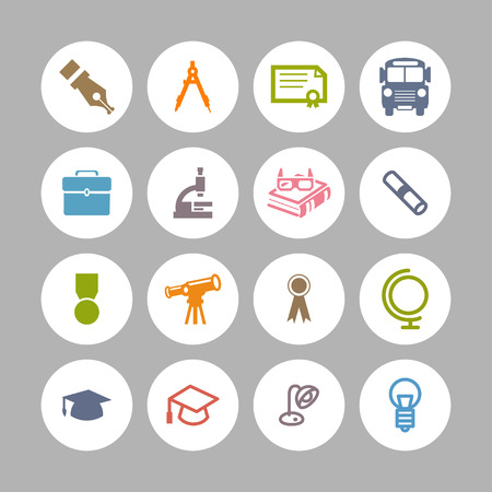 wit: school education study science icon set Illustration