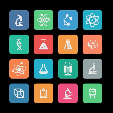 science education medicine research icon set
