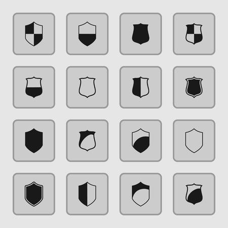 defence: shield safe defence icon set
