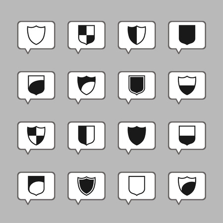 honor guard: shield safe defence icon set
