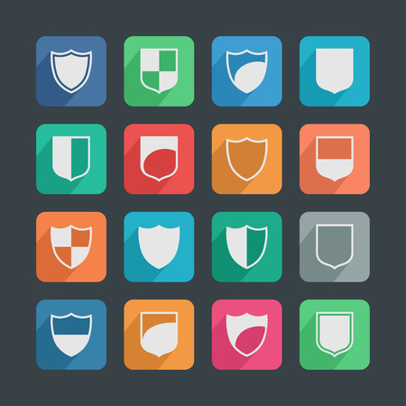 defence: shield safe defence icon set