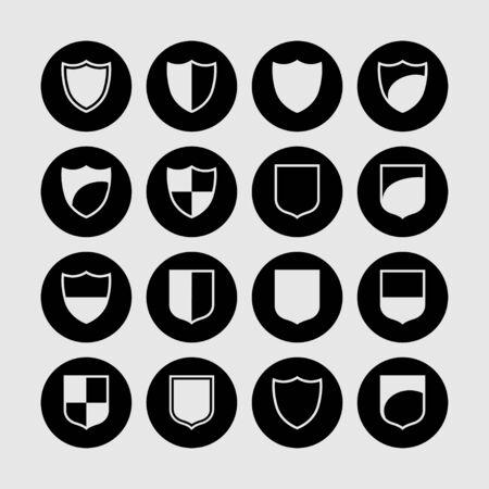 honour guard: shield safe defence icon set
