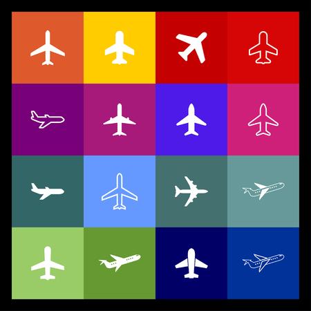 plane air travel vehicle aviation wing icon set