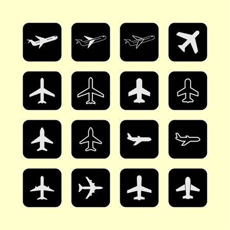 fighter pilot: plane air travel vehicle aviation wing icon set