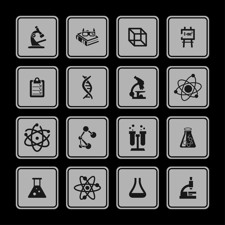 neutrons: science education medicine research icon set