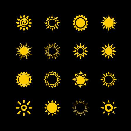 beam of light: sun beam light warm icon set