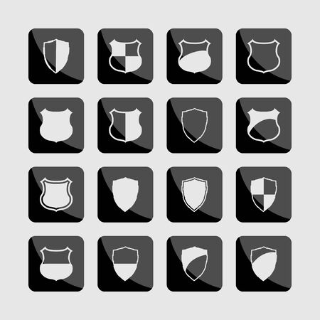 defense: shield defense protection icon set
