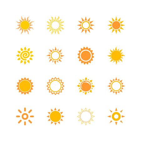 abstract symbolism: sun beam light warm icon set