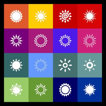 beam: zon straal licht warm icon set Stock Illustratie