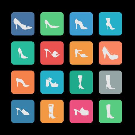 spur: shoe market sell fasion wear icon set Illustration