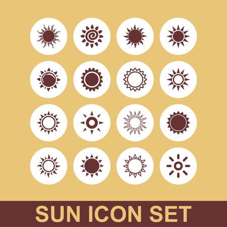 attern: sun beam light warm icon set