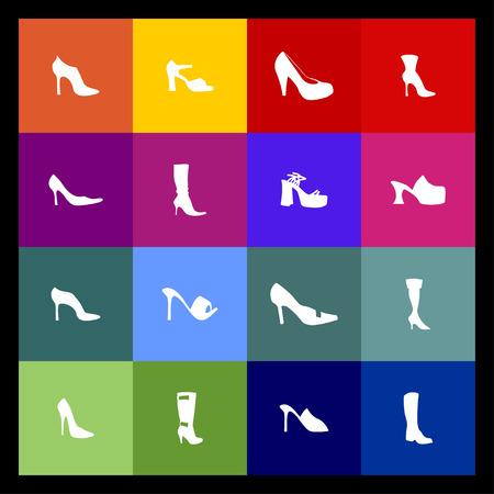 stud: shoe market sell fasion wear icon set Illustration