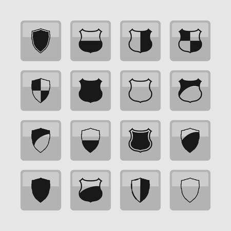 honour guard: shield defense protection icon set