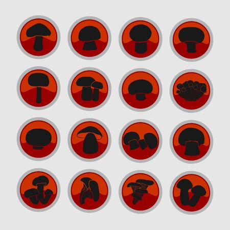 tuft: mushroom icon set