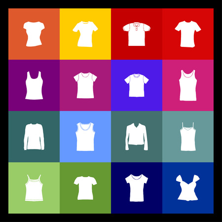web store: t-shirt wear fasion icon set