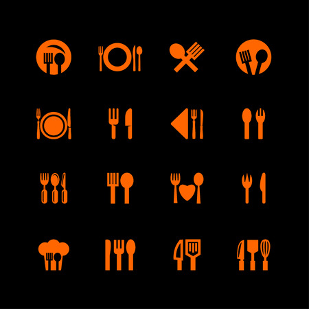 food eat tools instruments icon set Illustration