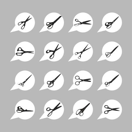scissors cut tool icon set